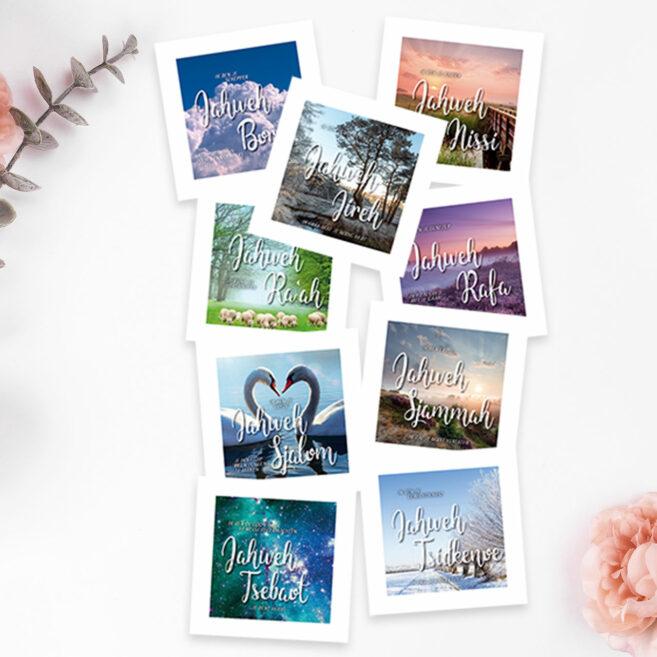 Ansichtkaarten 'De namen van God' (set van 9)