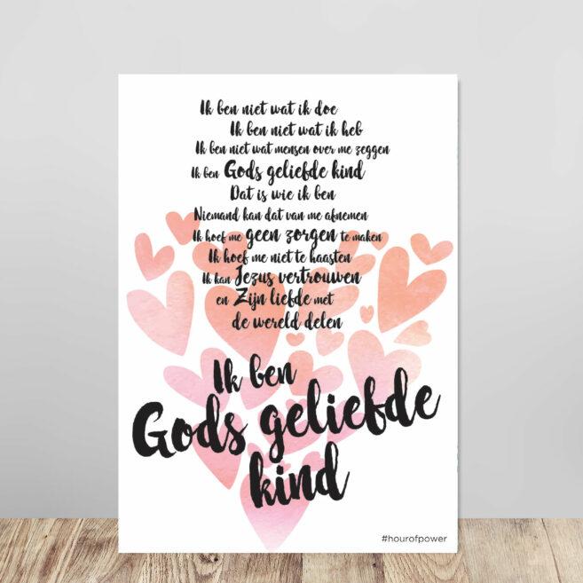 Kadobord 'Gods geliefde kind' harten