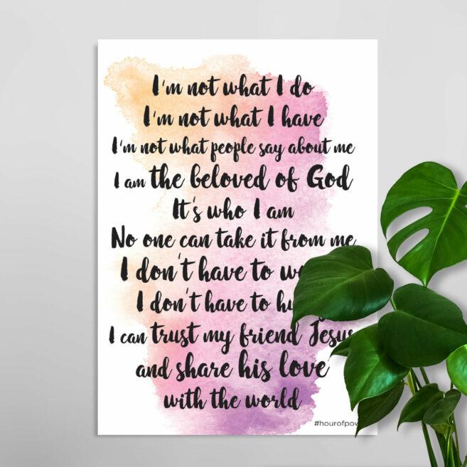 Wandbord 'The beloved of God' (Engels)
